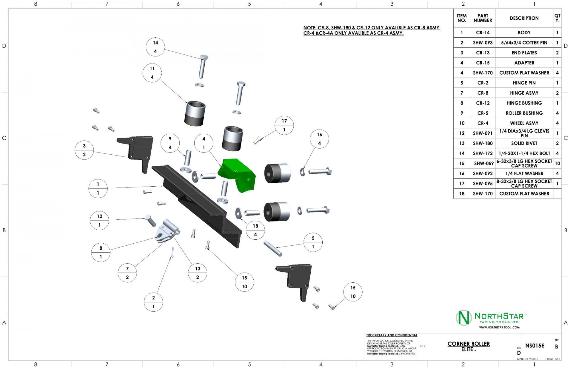 northstar corner roller parts